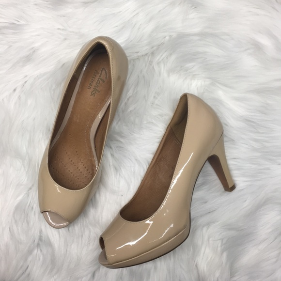 dd5ea35f6bc Clarks Shoes - Clark s Wessex Eider Nude Patent Leather Heels